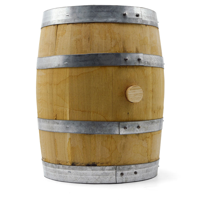 Upright Brother Justus Whiskey Barrel with a cork in the bung hole