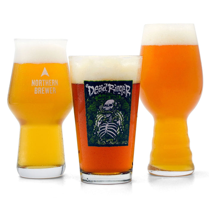 Hop Monster IPA Extract Beer Variety Pack poured into three different style IPA glasse