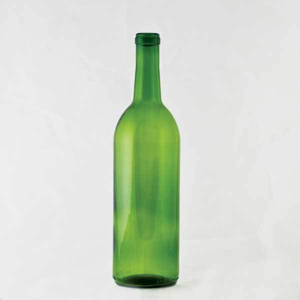 750 milliliter Green Claret Bottle for use with cork only