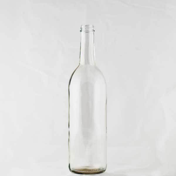 750 milliliter Clear Claret bottles with a screw finish