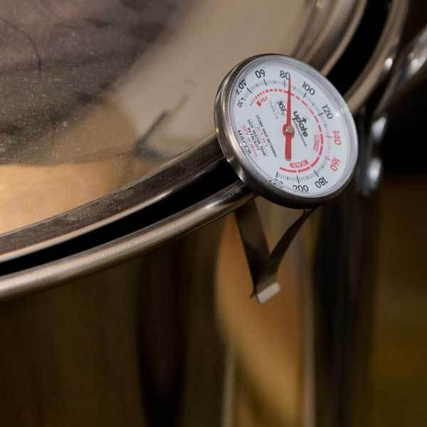 Large Dial Frothing Thermometer in kettle