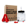 Fermentor with airlock, bottle capper, bottle, extract in a container, with beer bottle.