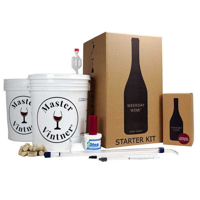 Master Vintner Weekday Wine Starter Kit, containing two fermenting buckets, rack magic siphon, bottle filler, herculometer, mini corker, corks, one step, and sodium metabisulfite