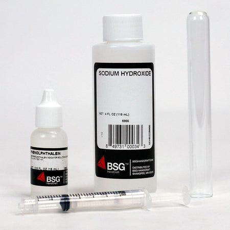 Sodium hydroxide, color indicator solution, a syringe, and a glass vial