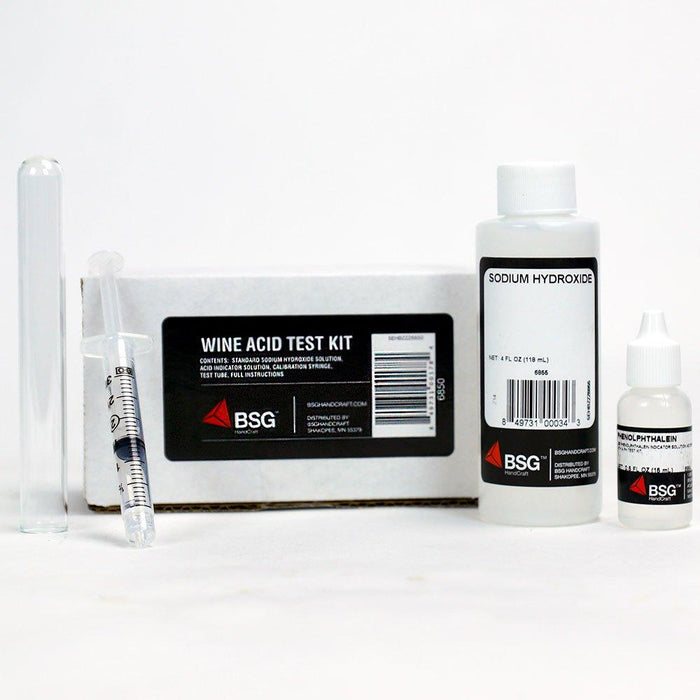 Acid Test Kit with sodium hydroxide, color indicator solution (phenolphthalein), a syringe, and a glass vial