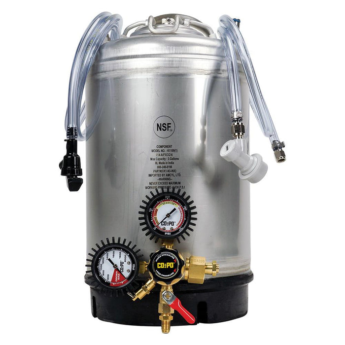 3-Gallon Keg System with a regulator attached to the front, and liquid and gas tubing draped over the handles.