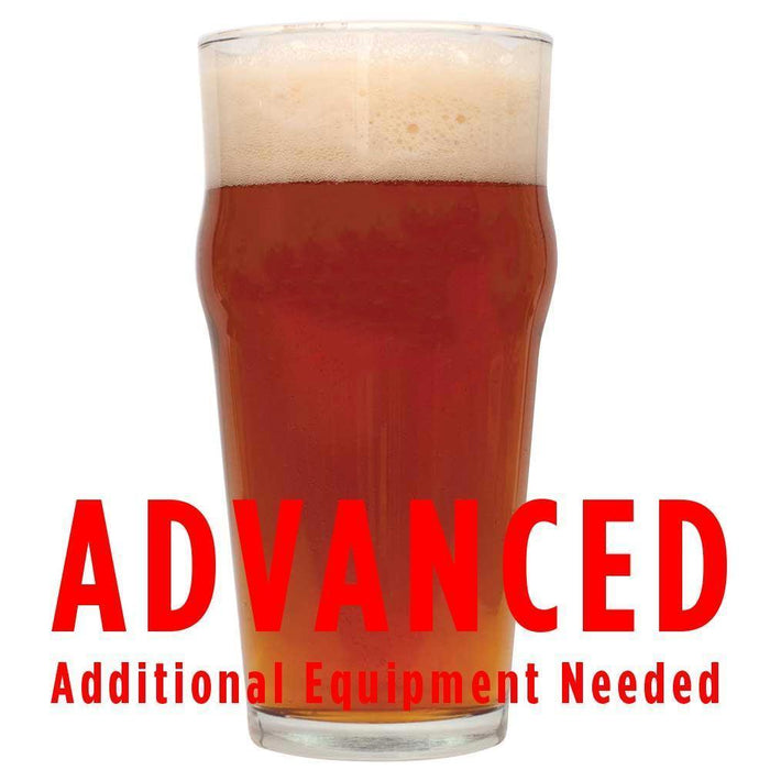 "A glass of Ferocious IPA with an All-Grain caution: ""Advanced, additional equipment needed"""