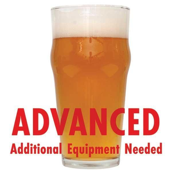 "Extra Special Bitter homebrew in a glass with an All-Grain caution: ""Advanced, additional equipment needed"""