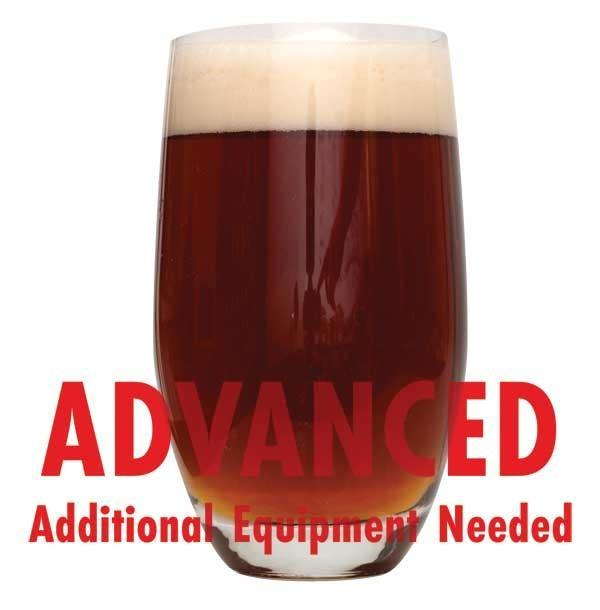 "Honey Brown Ale in a drinking glass with an All-Grain caution in red text: ""Advanced, additional equipment needed"""