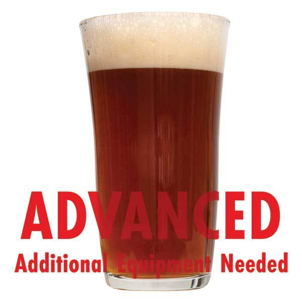 "A drinking glass filled with Roggenbier with a customer caution in red text: ""Advanced, additional equipment needed"" to brew this recipe kit"