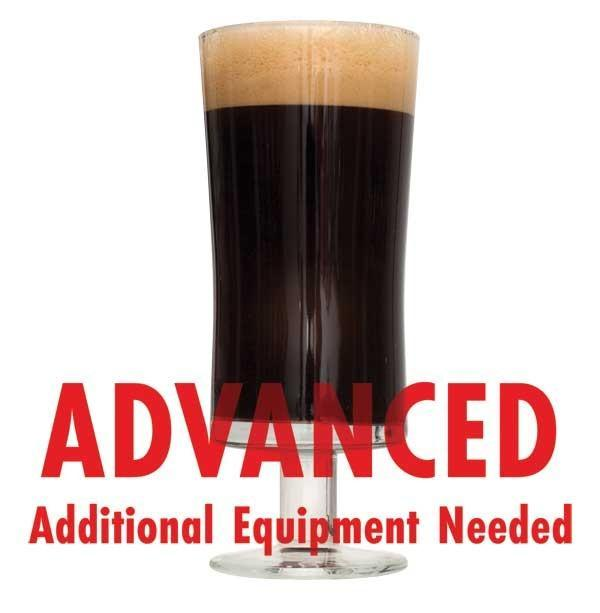 "Chocolate Milk Stout homebrew in a glass with an All-Grain warning: ""Advanced, additional equipment needed"""