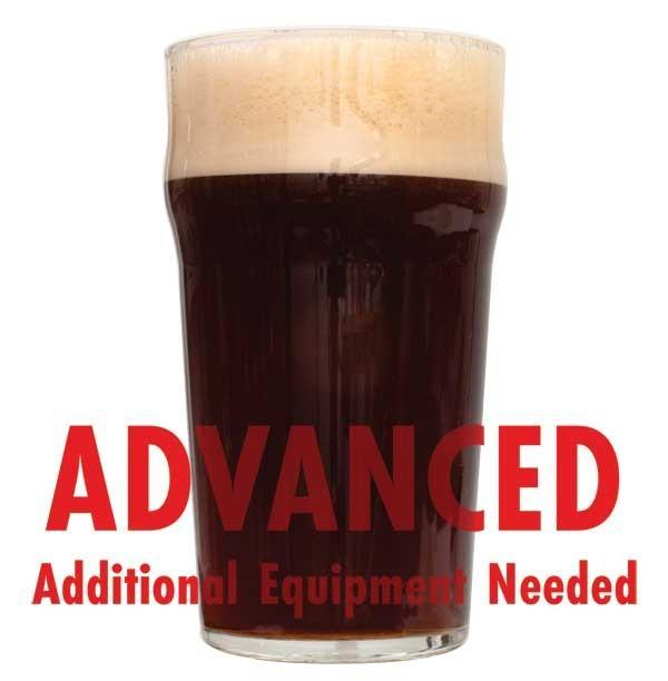 "Dry Irish Stout homebrew in a glass with an All-Grain warning: ""Advanced, additional equipment needed"""