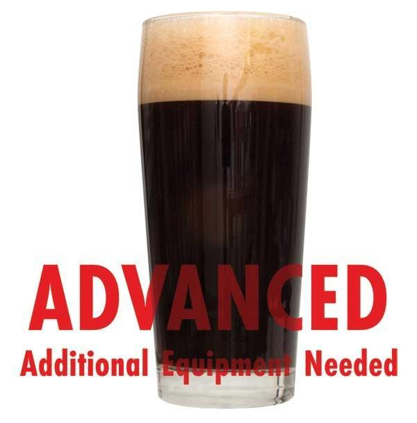 "St. Paul Porter homebrew in a glass with a customer caution in red text: ""Advanced, additional equipment needed"" to brew this recipe kit"