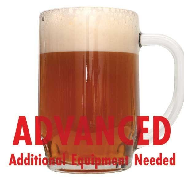 "Phat Tyre Amber Ale in a drinking glass with a customer caution in red text: ""Advanced, additional equipment needed"" to brew this recipe kit"