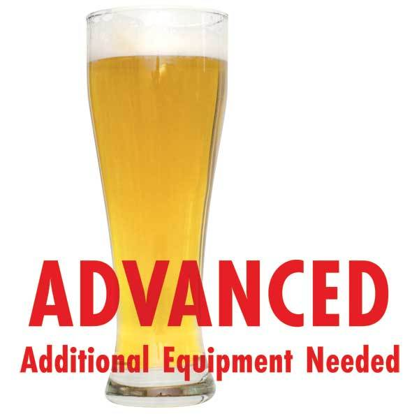 "Czech Pilsner homebrew in a glass with an All-Grain warning: ""Advanced, additional equipment needed"""