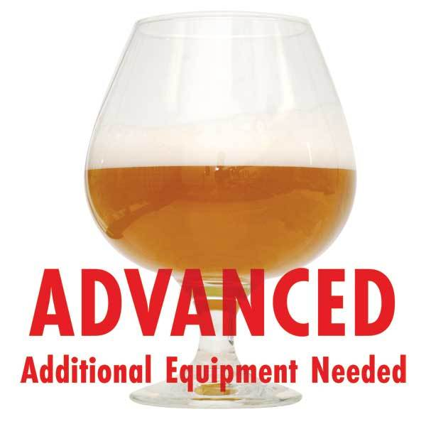 "Cascade Mountains West Coast Imperial IPA homebrew in a glass with an All-Grain warning: ""Advanced, additional equipment needed"""