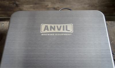 Close-up view of the Anvil Brewing Scale's logo