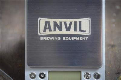 A close-up of the small Anvil Brewing Scale's logo