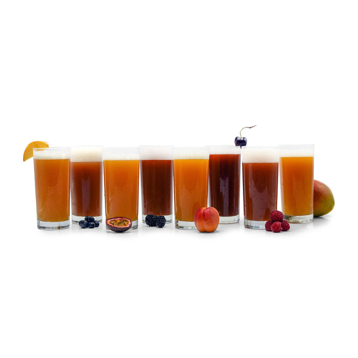A swath of Funktional Fruit Sour beers with respective fruits beside their glasses