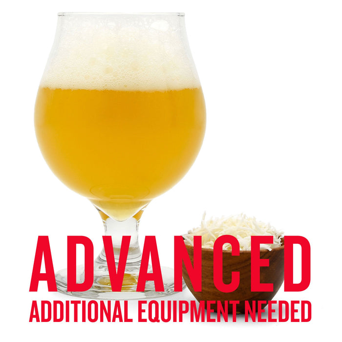 "Hula Hop'd Coconut Milkshake IPA in a drinking glass, beside shaved coconut, and a customer caution in red text: ""Advanced, additional equipment needed"" to brew this recipe kit"