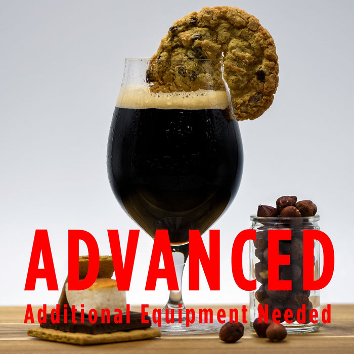 "Sweet Tooth Pastry Stout with a cookie wedge and various accoutrements with a customer caution in red text: ""Advanced, additional equipment needed"" to brew this recipe kit"