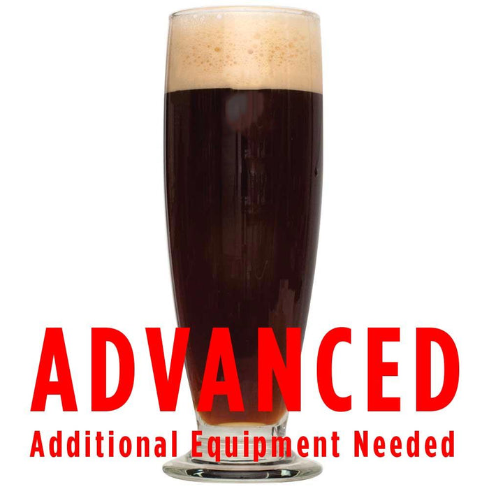 Pilsner Obscura Schwarzbier All Grain Recipe Kit in a glass with text warning advanced additional equipment needed.
