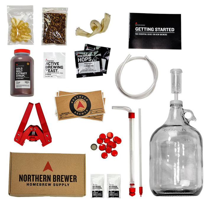 Craft Beer Making Kit contents all individually placed for viewing