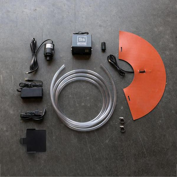 FTSs Heating/Chilling Kit: cone heating pad, submersible pump, vinyl tubing, digital temperature control, and display mount