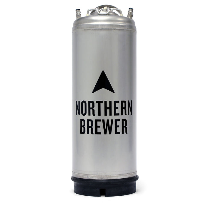 Ball lock keg with the Northern Brewer Logo on its face