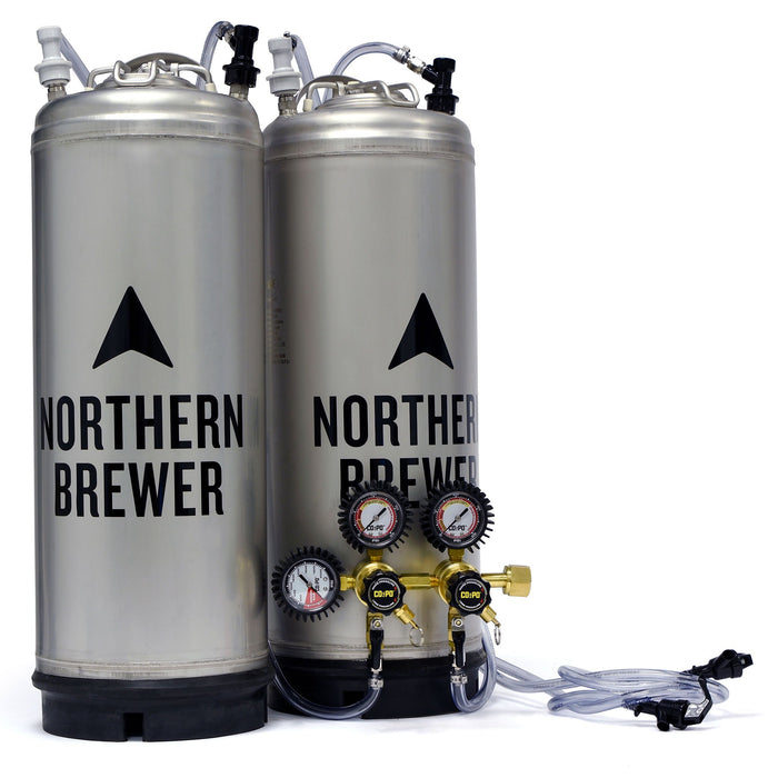 Two 5-gallon corney kegs with tubing attached to a CO2PO double body co2 regulator