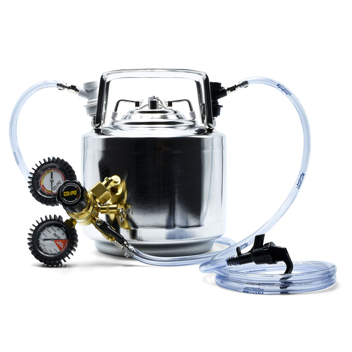 1.75-Gallon Cornelius Ball Lock Keg, beverage and liquid tubing, and a dual gauge co2 regulator