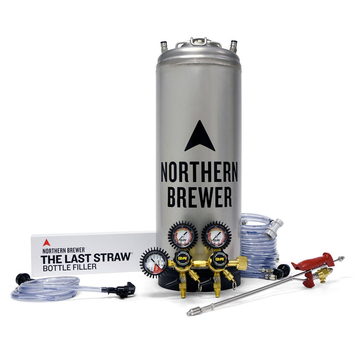 Northern Brewer tap-n-fill kegging system's contents with last straw bottle filler