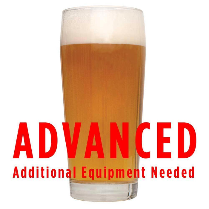 "Fruit Stand Wheat homebrew in a glass with an All-Grain caution: ""Advanced, additional equipment needed"""