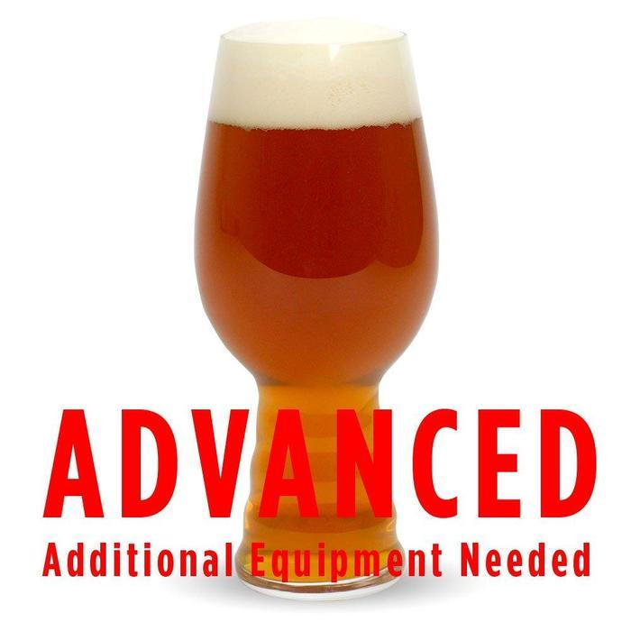 "A glass filled with Plinian Legacy IIPA with a customer caution in red text: ""Advanced, additional equipment needed"" to brew this recipe kit"