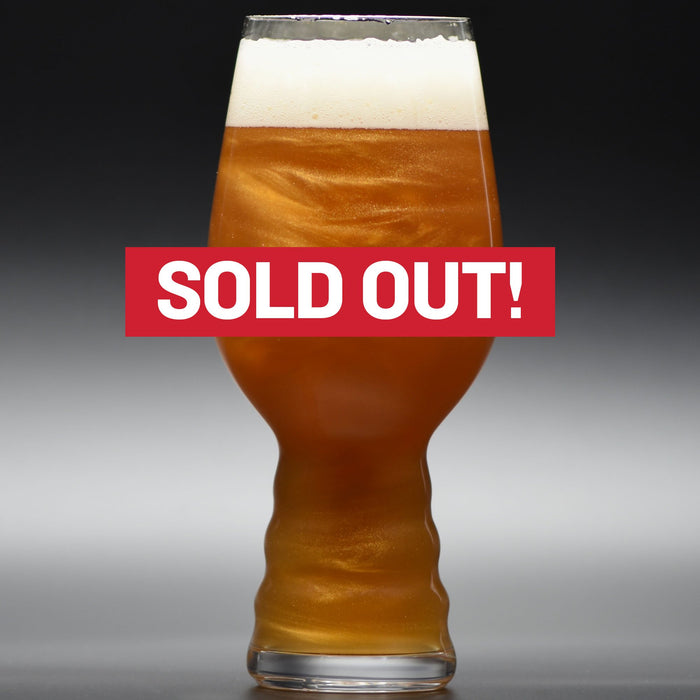 "Supernova New England Glitter IPA in a glass with ""Sold Out"" superimposed over the image"