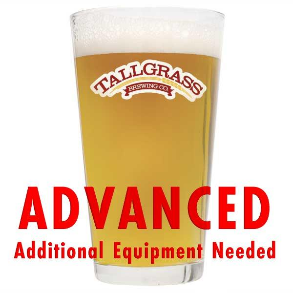 "Tallgrass Halcyon Unfiltered Wheat homebrew in a drinking glass with a customer caution in red text: ""Advanced, additional equipment needed"" to brew this recipe kit"
