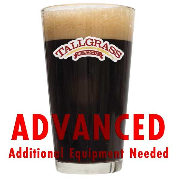 "Tallgrass Buffalo Sweat Stout in a glass with a customer caution in red text: ""Advanced, additional equipment needed"" to brew this recipe kit"