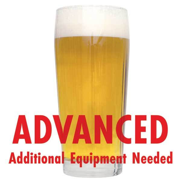 "A tall glass of Pre-Prohibition Lager with a customer caution in red text: ""Advanced, additional equipment needed"" to brew this recipe kit"