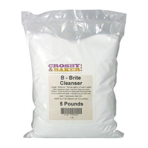 5 lbs transluscent bag of B-Brite Brewing Cleaner & Bottle Label Remover.