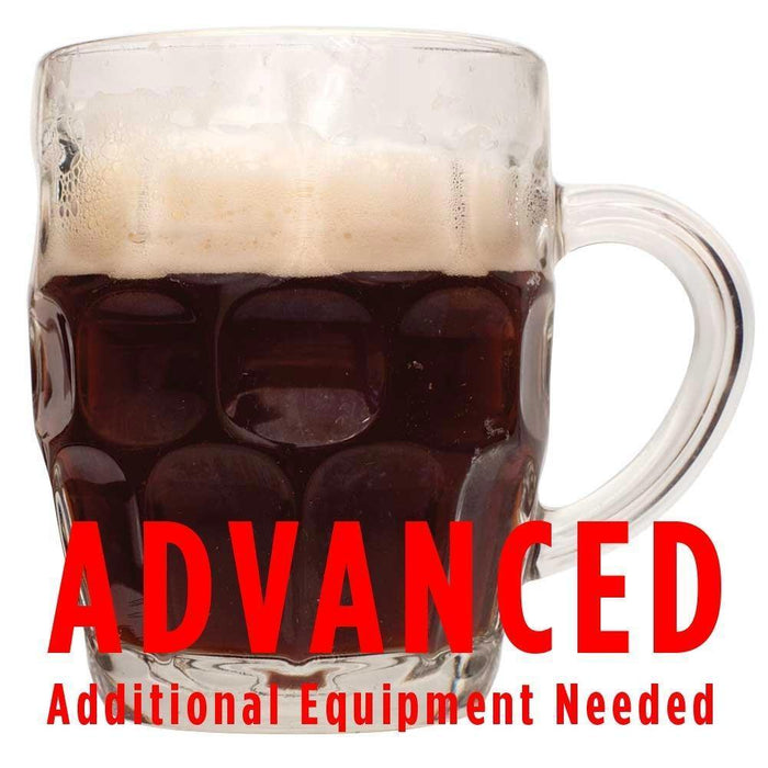 "Winter Warmer ale in a mug with a customer caution in red text: ""Advanced, additional equipment needed"" to brew this recipe kit"