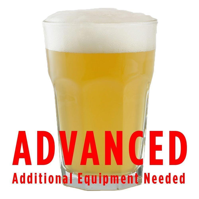 "Gaarden Hoe Witbier homebrew with an All-Grain caution in red text: ""Advanced, additional equipment needed"""