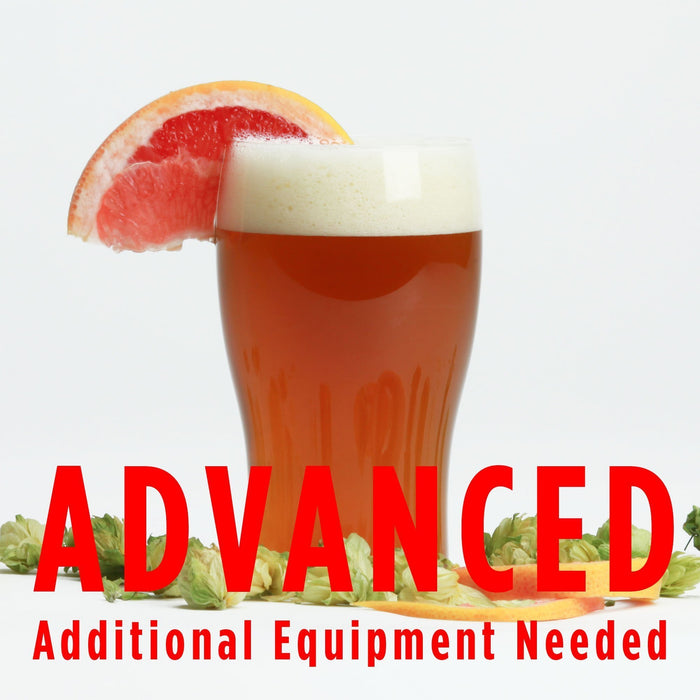 "Fresh Squished homebrew in a glass with a grapefruit wedge. Text at the bottom reads ""Advanced, additional equipment needed"" as a warning for all-grain brewers"