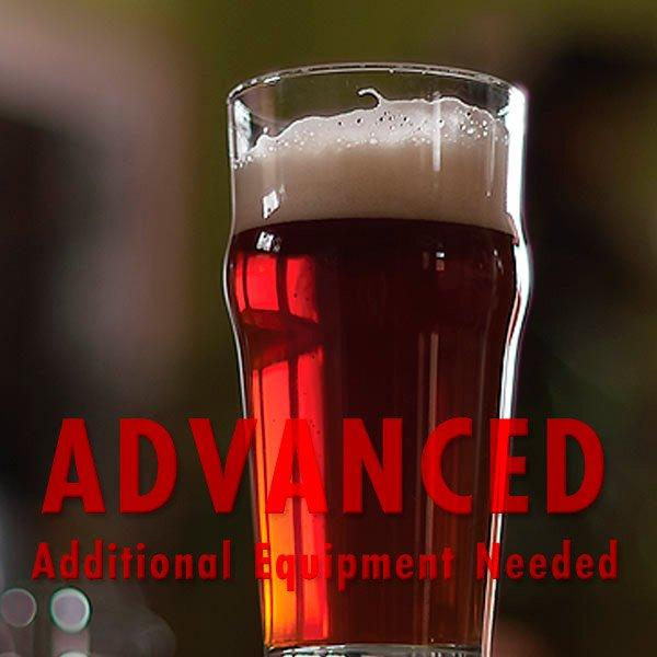 "BACON! Smoked Red Ale in a glass with an All Grain warning: ""Advanced, additional equipment required"""