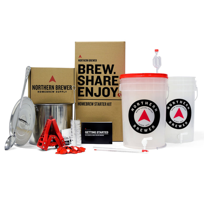 The contents of the Northern Brewer Brew Share Enjoy Homebrew starter kit