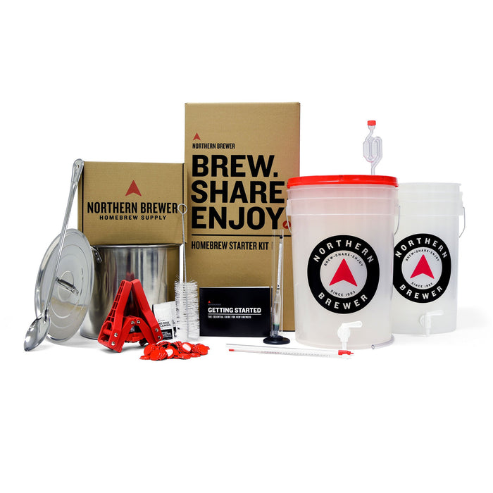 All of the contents of the Northern Brewer Brew Share Enjoy Homebrew starter kit
