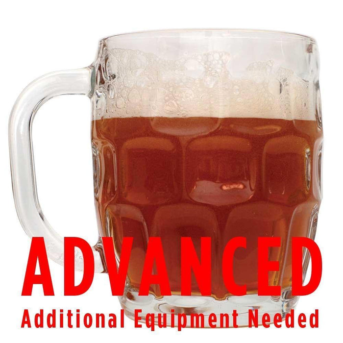 "Oktoberfest homebrew in a mug with an All-Grain caution in red text: ""Advanced, additional equipment needed"""