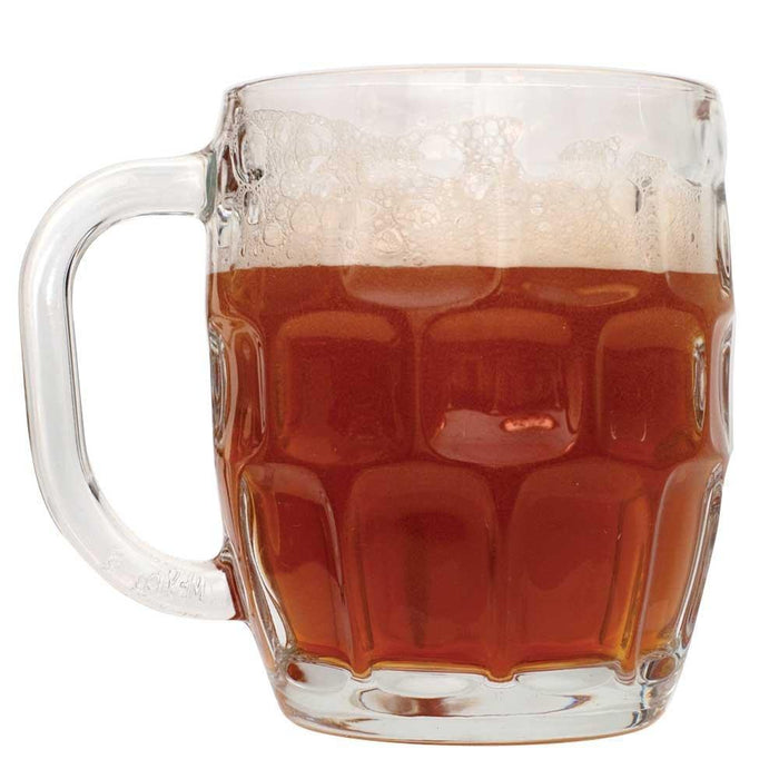 Mug mostly filled with Oktoberfest homebrew
