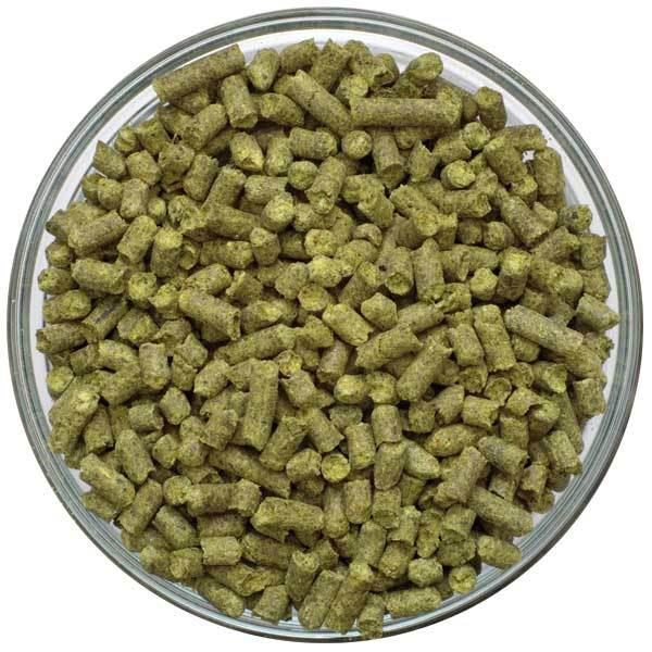 Chinook Hop Pellets in a bowl