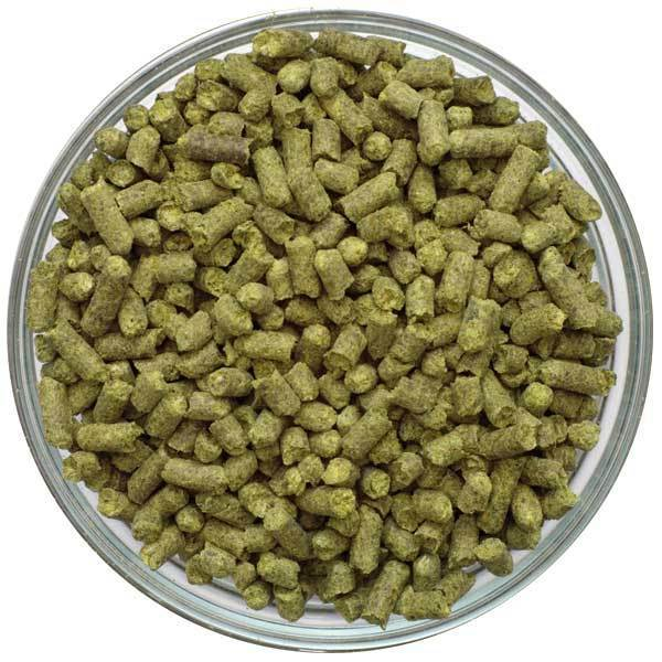 Bowl filled with UK Progress hop pellets