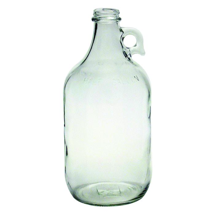 Half gallon clear glass growler